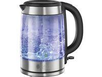 Russell Hobbs 21600 Blue Illuminating Glass Kettle 1.7 L Rapid Boil 3000W (B)