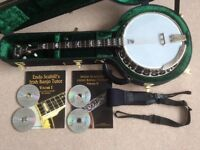 DEERING EAGLE II TENOR BANJO with Hard Case, Tutor Books with CDs and Neotech Strap.