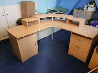 Corner Desk with Pullout Keyboard Shelf - Drawers - Cupboard