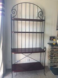 Wall unit mahogany shelves and iron frame. Width 95cm and height 115cm. Good condition.