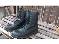 Black leather cadet boots