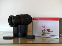 Canon EF 24 -70mm f / 2.8 L USM Mark 1 with Lens case and Lens hood