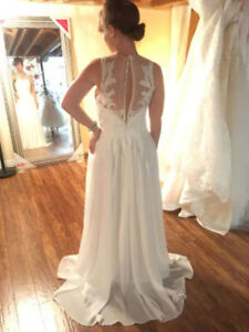 Wedding Dress - illusion front and back Stunning Lace Details!