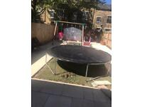 Swings and trampoline