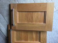 Solid oak kitchen cupboard doors plus handles