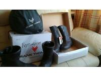 Two pairs of ladies motorcycle boots ,, and helmet