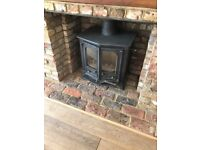 Wood Burning Stove - Cast iron, doubel fronted, preloved, good condition
