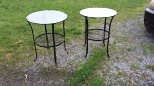 NEW METAL AND GLASS PATIO TABLES