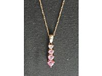 Pink Saphire pendant on gold chain