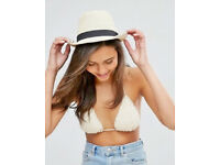 Ladies New White Summer Sun Stylish Trilby Hat with Black Ribbon.One Size Fits All.