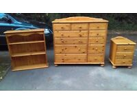 Solid Pine Bedroom Furniture. Large Chest, Bedside and Book Case.. great for the teenagers bedroom