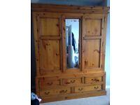 Large Pine 2 door/mirror Wardrobe with 5 drawers