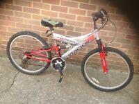 Boys Dual Suspension mountain bike 18 sp (age 8-11