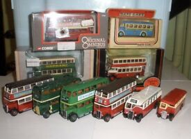 Collection of old busses. Corgi Lledo eff