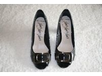 Black Patent Toeless Court Shoes - PRICE REDUCED.