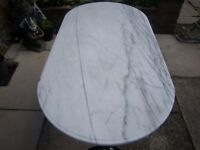 OVAL MARBLE TOP KITCHEN/GARDEN TABLE SET ON CAST IRON FRAME