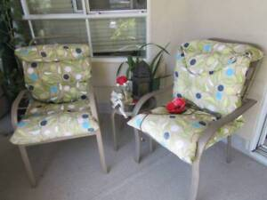 4 Patio Chairs, Cushions & 2 side tables