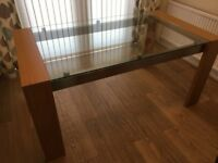 John Lewis Oak and Glass Dining Table 160 x 90