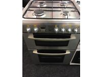 INDESIT 60CM BRAND NEW ALL GAS COOKER WITH LID IN SHINY SILIVER