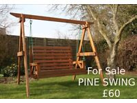 Pine garden swing for sale. Reduced to £40, Little Downham, Ely.