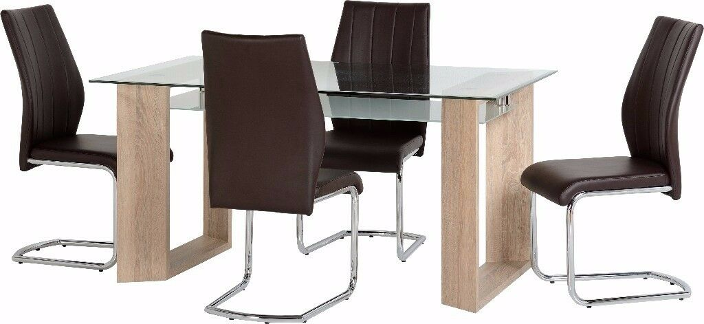 New Milan Glass Dining Table 4 Chairs Only 359 IN STOCK TODAY