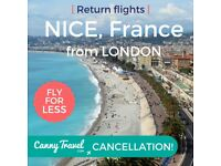**BARGAIN CHEAP FLIGHTS** for a weekend trip to **NICE, FRANCE** (SAVE £200pp)