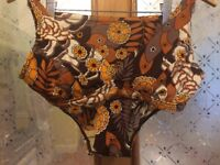 VINTAGE 1970s VERY FLATERING, BROWN AND ORANGE FLORAL BIKINI, NYLON AND LYCRA