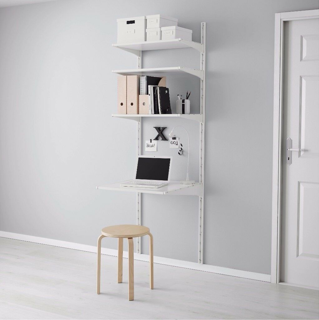 Ikea Algot Shelving System White Metal Wall Desk