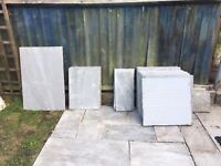 APPROX 7 SQ MTS OF SILVER RIVEN NATURAL STONE