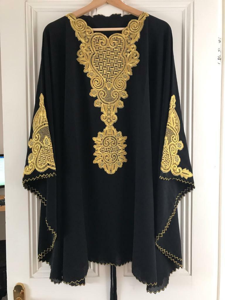 NEW Black Dubai Stlye Chiffon Kaftan - free UK delivery