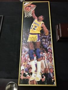 "8.5"" x 25"" Hand Signed Magic Johnson Picture"