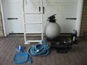 pompe jacuzzi,echelle,filtre,distributeur de chlore,450-388-0299