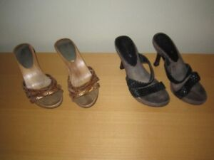Women's Slippers Black and Gold colour, Size = 6 ($20.00 both)