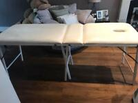 White leather pvc massage/treatment table, only used for training, good condition, collection £70.