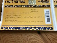 ONE TICKET FOR Y NOT FESTIVAL AND CAMPING PIKEHALL DERBYSHIRE