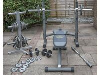 Gold's Gym Bench press and weights - Bargain price - Cost £500 new!