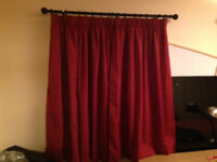 Red curtains- two pairs 133cm D. 129cm or 195cm W. Comes with curtain hooks £10 per pair. B15/ B7
