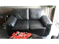 Two Seater Black Real Leather Sofa