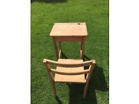Vintage Child's Desk & Chair with inkwell