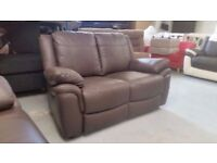 EX DISPLAY ScS LIBRA BROWN LEATHER 2 SEATER SOFA **CAN DELIVER**