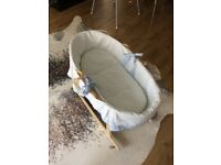 Moses basket and wooden rocking stand