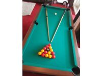 "Pool table 6ft -3ft 30""high."