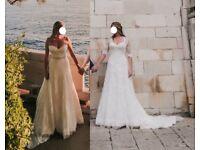 Removable sleeves w Swarovski, Essense Of Australia wedding dress, immaculate, 12-14 &cathedral veil
