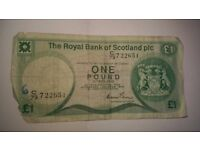 OLD SCOTTISH COLLECTABLE PAPER ONE POUND NOTE
