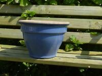 Nice Blue Glazed Ceramic Garden Planter Classic Plant Pot Shape