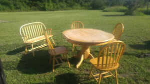 pine table 4 chairs and bench