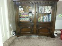 Vintage Dark Solid Oak Display Cabinet/Bookcase with Leaded Glass Doors