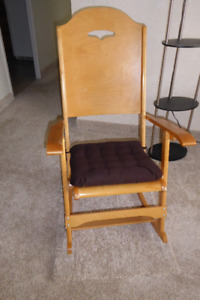 Folding Wooden Rocking Chair & Cushion - NEW PRICE