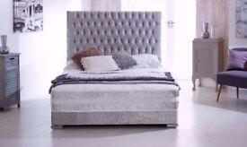 """BRAND NEW CRUSHED VELVET DIVAN BED BASE -DOUBLE - 3FT - 5ft - """"OPT MATTRESS"""""""