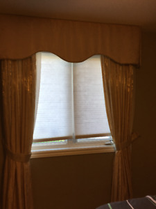Set of satin brocade drapes with matching Valance and sheers